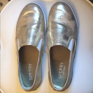 Sperry slip on shoes size 8 with leather upper